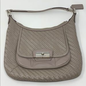 Coach Kristin Woven Taupe Leather Hobo Crossbody